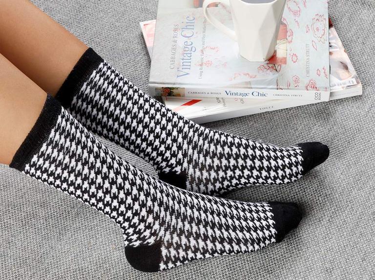 Houndstooth Pamuk Kadın Çorap Siyah