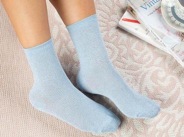 Purler Pamuk Kadın Çorap Standart Mavi