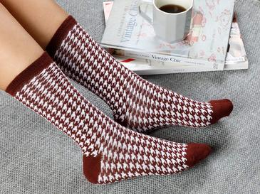 Houndstooth Pamuk Kadın Çorap Bordo
