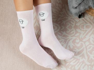 Lambswool Pamuk Çorap Pembe