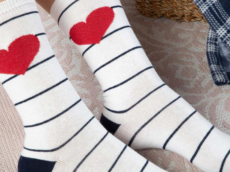 Lovely Heart Pamuk Kadın Çorap Beyaz