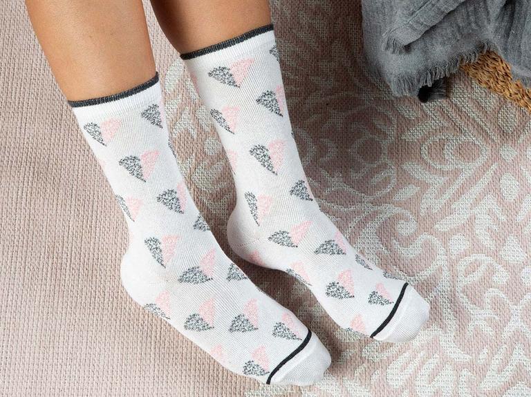 Little Hearts Pamuk Kadın Çorap Beyaz