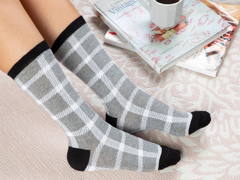 Stitch Pamuk Kadın Çorap Gri