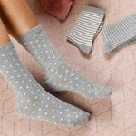 Colourful Pamuk Kadın Çorap Beyaz - Gri