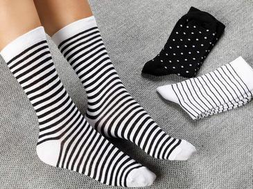 Colourful Pamuk Kadın Çorap Siyah - Beyaz