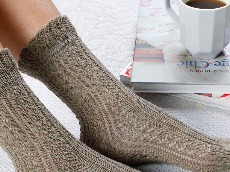 Fishnet Long Pamuk Kadın Çorap Haki