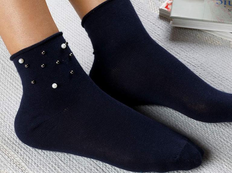 Pearl Pamuk Kadın Çorap Lacivert