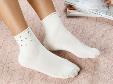 Pearl Pamuk Kadın Çorap Ekru