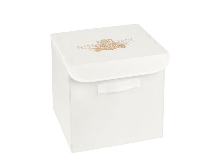 Lace Damask Polipropilen Saklama Kutusu 30x30x30 Cm Beyaz