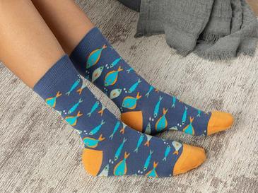 Fish Effect Pamuk Kadın Çorap Mavi