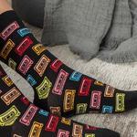Cassette Tape Pamuk Kadın Çorap Siyah