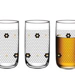 Denby Flowery Cam 3'lü Meşrubat Bardağı 365 Ml Siyah-gold