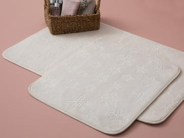 Snowflake Embos Banyo Paspası Seti 60x90+50x60 Beyaz