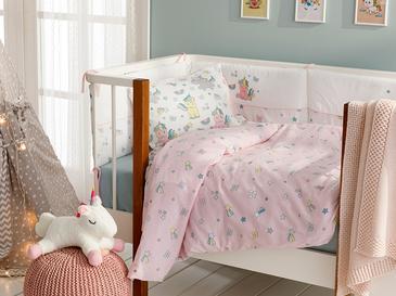 Mini Unicorn Pamuklu Bebe Nevresim Takımı 100x150 Cm Pembe