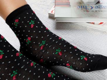 Blossoms Pamuk Kadın Çorap Standart Siyah