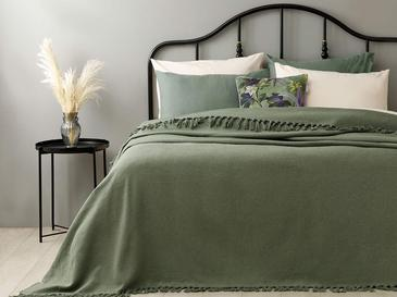 Crimped Pamuklu Çift Kişilik Yatak Örtüsü 240x260 Cm Yeşil