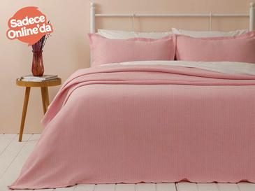 Lucy Pamuklu Çift Kişilik Yatak Örtüsü Takımı 230x240 Cm Pembe