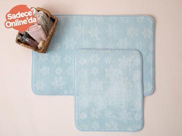Snowflake Embos Banyo Paspası Seti 60x90+50x60 Mavi
