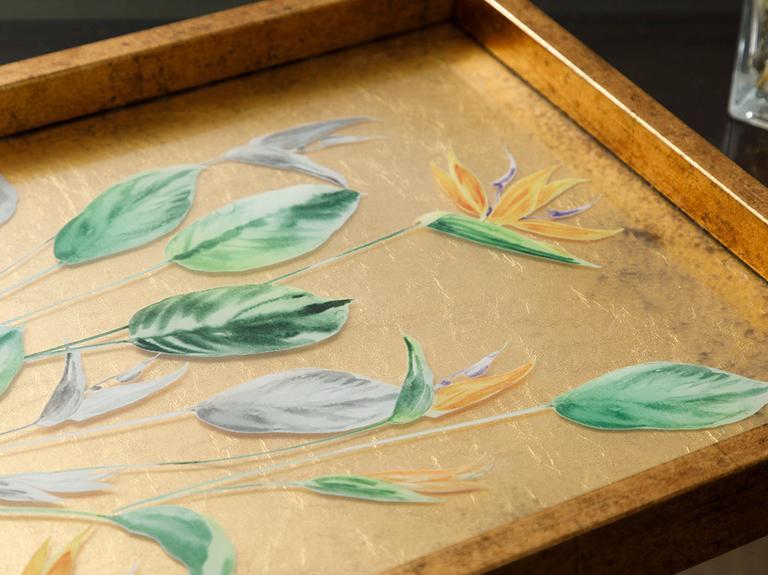 Paradise Flowers Cam Dekoratif Tepsi 31x46 Cm Altın