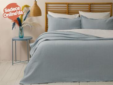 Lucy Pamuklu Çift Kişilik Yatak Örtüsü Takımı 230x240 Cm Turkuaz