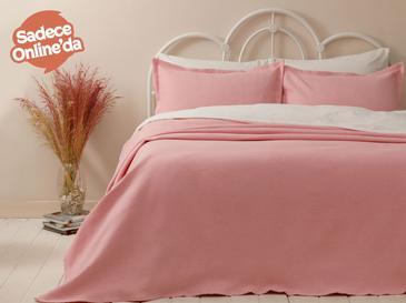 Pablo Pamuklu Çift Kişilik Yatak Örtüsü Takımı 230x240 Cm Pembe