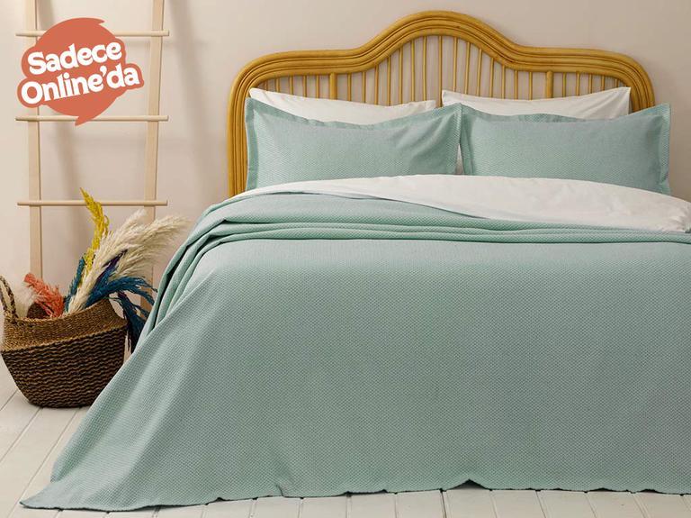 Blake Pamuklu Çift Kişilik Yatak Örtüsü Takımı 230x240 Cm Yeşil