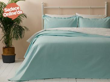 Blake Pamuklu Çift Kişilik Yatak Örtüsü Takımı 230x240 Cm Mint