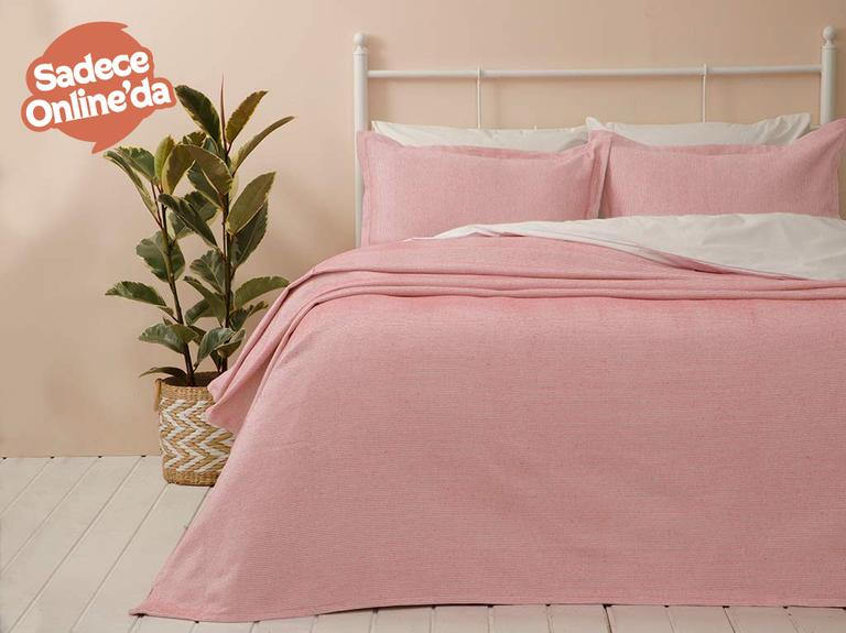 Fiona Pamuklu Çift Kişilik Yatak Örtüsü Takımı 230x240 Cm Pembe