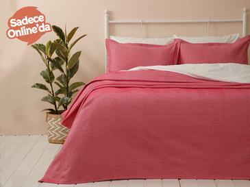 Fiona Pamuklu Çift Kişilik Yatak Örtüsü Takımı 230x240 Cm Fuşya