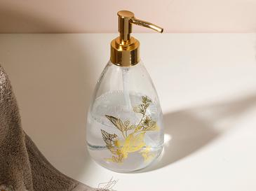 Flowery Cam Banyo Sıvı Sabunluk 8,7x17,5 Cm Gold