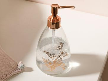 Flowery Cam Banyo Sıvı Sabunluk 8,7x17,5 Cm Rose Gold