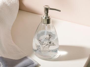 Flowery Cam Banyo Sıvı Sabunluk 8,7x17,5 Cm Gümüş