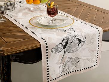 Denby Elegant Polyester Dikdörtgen Runner 40x150 Cm Bej - Siyah