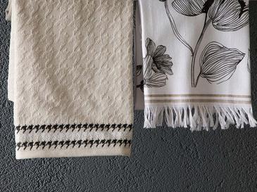 Denby Flowery Pamuk 2'li Kurulama Bezi 40x60 Cm Beyaz - Bej