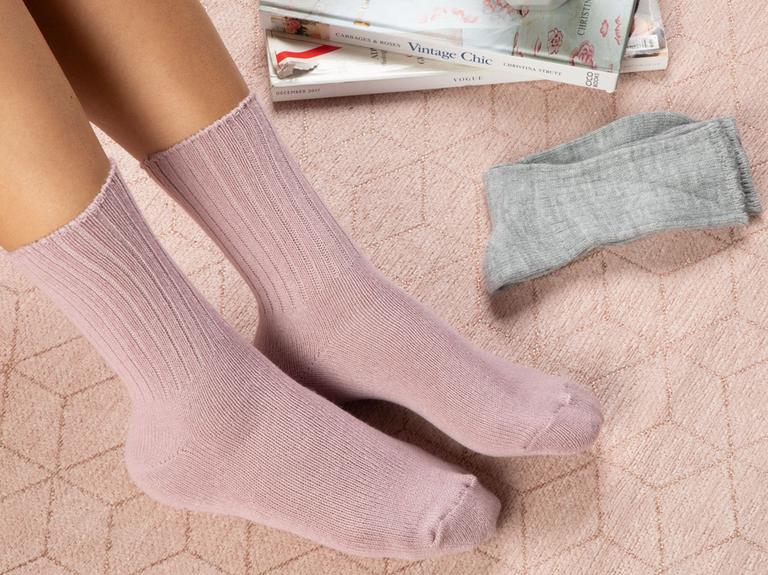 Sleep Well Akrilik 2Li Uyku Çorabı Çorap 39-41 Gri - Pembe