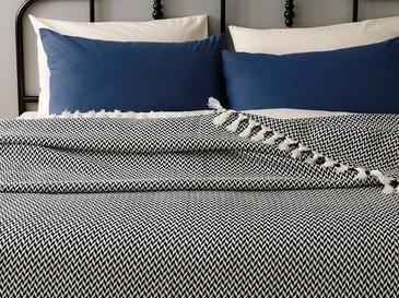 Herrıngbone Dokuma Tek Kişilik Yatak Örtüsü 160x240 Cm Lacivert