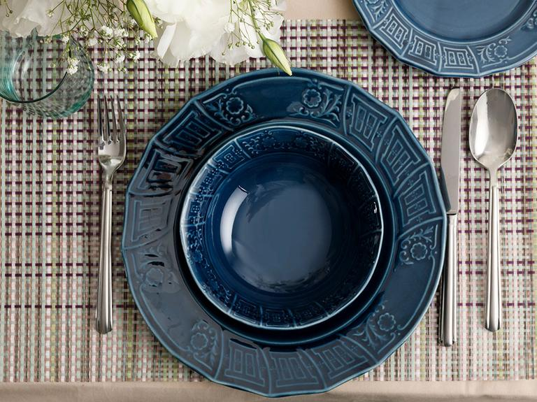 Lucita Porselen 12 Parça Yemek Takımı 16 Cm-19 Cm-27 Cm Mavi