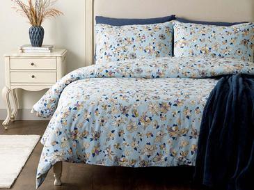 Art Floral Pamuk Çift Kişilik Nevresim Takımı 200x220 Cm Mavi