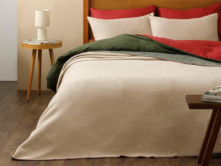 Softy Düz Tek Kişilik Battaniye 150x200 Cm Bej - Yeşil