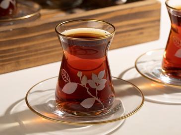 Bahar Dalı Cam 12 Parça Çay Seti 130 Ml Şeffaf