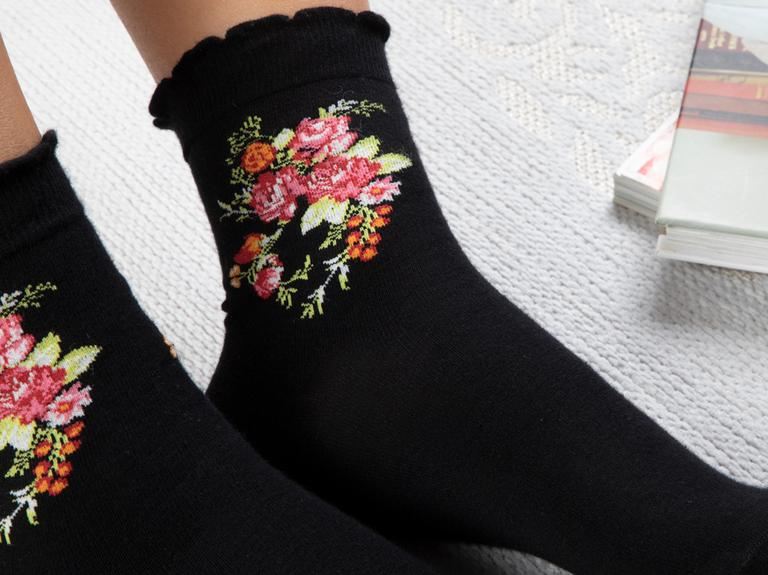 Flower Pamuk Kadın Çorap Siyah