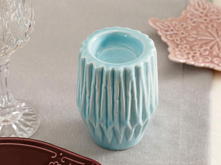 Snowland Stoneware Mumluk 7,4x7,4x10 Cm Mavi