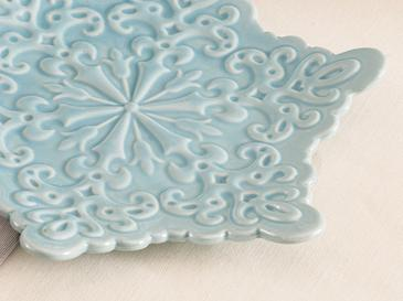 Snowflake Stoneware Dekoratif Tabak 19,8x17,5x2,5 Cm Mavi