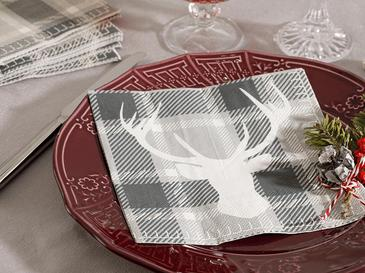 Deer Kağıt 20 Adet Kağıt Peçete 33x33 Cm Gri