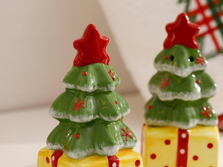Pine Tree Dolomite 2'li Tuzluk - Biberlik 4x8 Cm Kırmızı - Yeşil