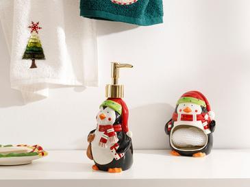 Penguin Dolomite Mutfak Sıvı Sabunluk 8x8x17,5 Cm Siyah - Beyaz