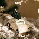 Christmas Parafin Mum 9,5x6,5 Cm Beyaz