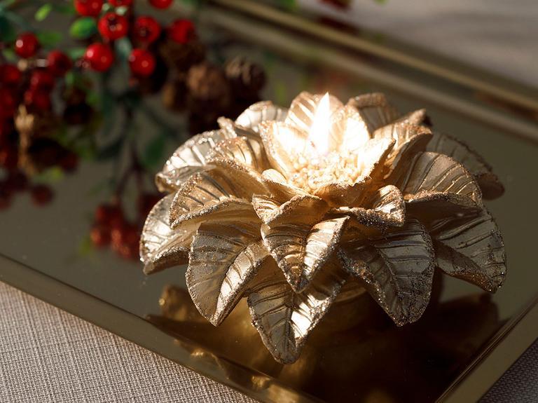 Magnolia Parafin Mum 13,8x13,8x6,5 Cm Gold