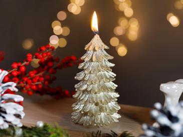 Christmas Season Parafin Mum 6x10 Cm Gold