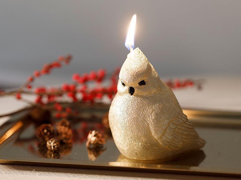 Bird Tweet Parafin Mum 10x8x10 Cm Gold